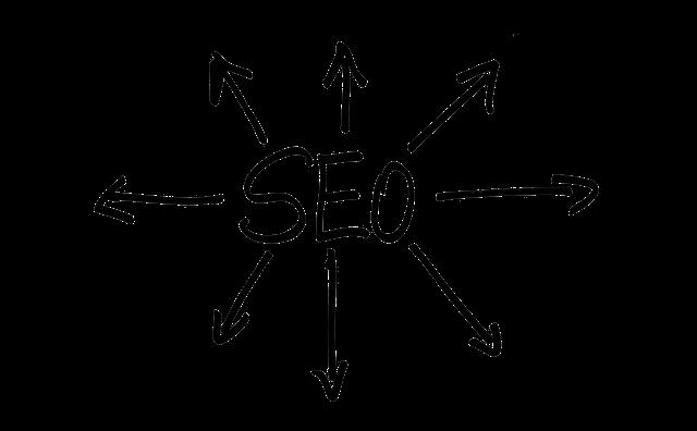 nápis SEO s šipkami na všechny strany